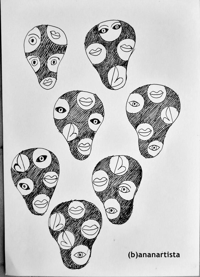 """7 FACES"" - pen on paper - (b)ananartista 20013"