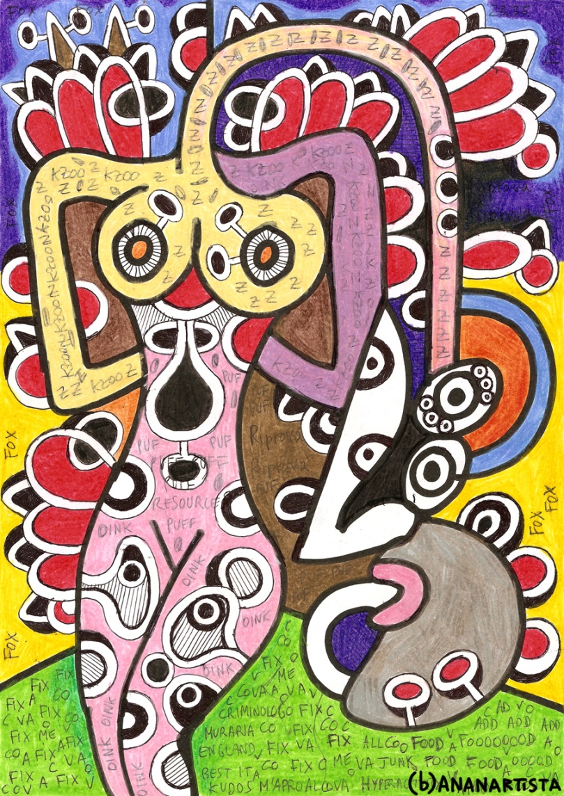 """DONNA CON NASONE"" - mixed media on A4 paper - www.bananartista.com"