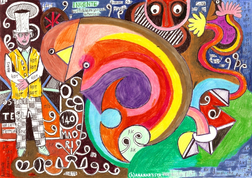 """MULTIDIMENSIONAL INTERSECTION"" - mixed media on A4 paper - (b)ananartista orgasmo SBUFF 20013 - www.bananartista.com"