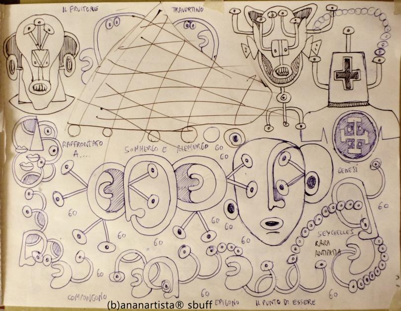 """""""IL MIO VIAGGIO ALLE SEYCHELLES"""" - pen on paper - (b)ananartista 20013"""