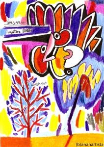"""THE RED TREE"" - (b)ananartista orgasmo SBUFF - mixed media on paper - http://www.bananartista.com"