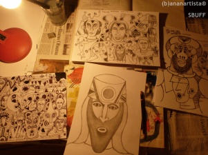 WORK IN PROGRESS - drawings on paper - (b)ananartista orgasmo SBUFF - http://www.bananartista.com