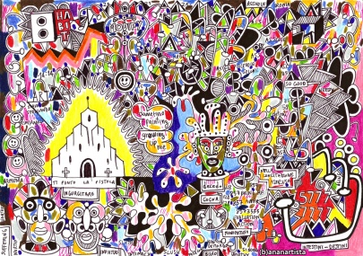 """LA CATTEDRALE"" - (b)ananartista orgasmo SBUFF - mixed media on paper - http://www.bananartista.com"