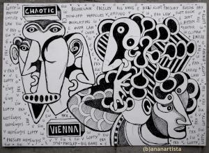 """CHAOTIC VIENNA"" - (b)ananartista orgasmo SBUFF - mixed media on paper - http://www.bananartista.com"