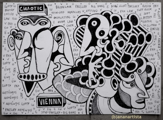 """CHAOTIC VIENNA"" - (b)ananartista orgasmo SBUFF - mixed media on paper - http://www.bananartista.com"