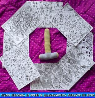 CINZIO circonda le mie opere - CINZIO surrounds my artworks - (b)ananartista orgasmo SBUFF