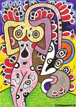 """DONNA CON NASONE"" - (b)ananartista orgasmo SBUFF - mixed media on paper - http://www.bananartista.com"