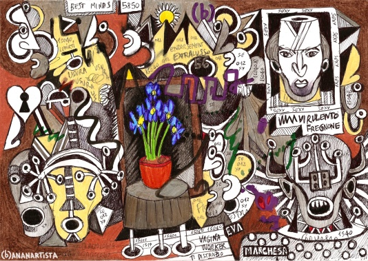 """I FIORI BLU"" - (b)ananartista orgasmo SBUFF - mixed media on paper - http://www.bananartista.com"