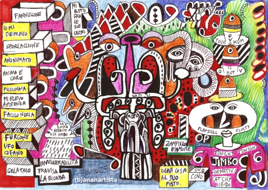 """MI BUTTO FRA LE SUE CARNI"" - (b)ananartista orgasmo SBUFF - mixed media on paper - http://www.bananartista.com"