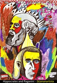 """HIPPOCRATES AND PAGANINI"" - (b)ananartista orgasmo SBUFF - mixed media on paper - http://www.bananartista.com"