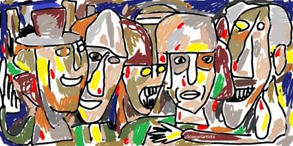 """""""IL CONCILIO DEI POTENTI"""" - (b)ananartista orgasmo Sbuff - digital art - www.bananartista.com"""