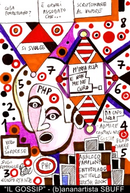 """IL GOSSIP"" - (b)ananartista orgasmo SBUFF - mixed media on paper - http://www.bananartista.com"