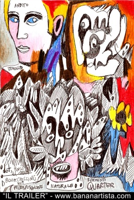 """THE TRAILER"" - (b)ananartista orgasmo SBUFF - mixed media on paper - http://www.bananartista.com"