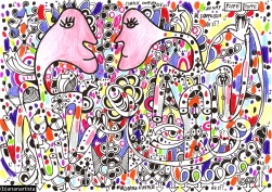 """L'INCONTRO FATALE"" - (b)ananartista orgasmo SBUFF - mixed media on paper - http://www.bananartista.com"