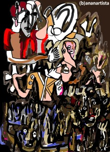 """""""LA CACCIA ALLE STREGHE"""" - (b)ananartista orgasmo Sbuff - digital art"""