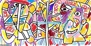 """LA COPPIA SCOPPIATA"" - (b)ananartista orgasmo Sbuff - digital art - www.bananartista.com"