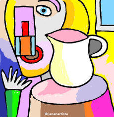 """""""LA DONNA CON LA BROCCA"""" - (b)ananartista orgasmo Sbuff - digital art - www.bananartista.com"""
