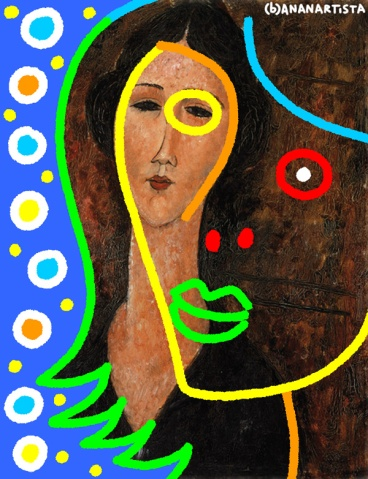 """LADY MODIGLIANI"" - (b)ananartista orgasmo Sbuff - digital art - www.bananartista.com"