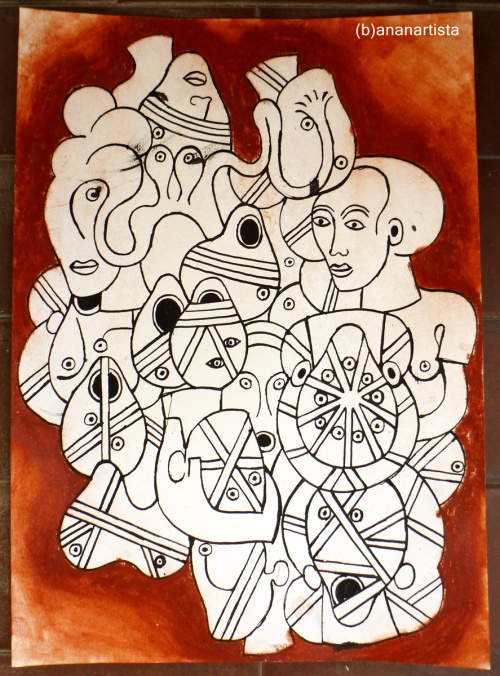 """L'ORGIA"" - (b)ananartista orgasmo SBUFF - mixed media on paper - http://www.bananartista.com"