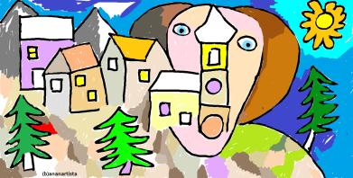 """ALPINE LANDSCAPE"" - (b)ananartista orgasmo Sbuff - digital art - www.bananartista.com"