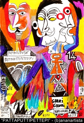 PATTAPUTTIPETTEPI - (b)ananartista orgasmo SBUFF - mixed media on paper - http://www.bananartista.com