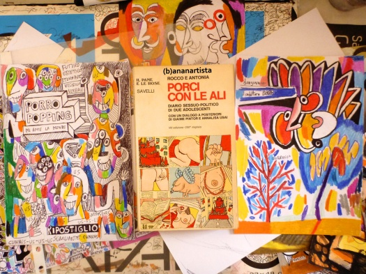 """PORCI CON LE ALI"" - (b)ananartista orgasmo SBUFF - mixed media on paper - http://www.bananartista.com"