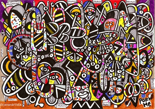 """PORN ME"" - (b)ananartista orgasmo SBUFF - mixed media on paper - http://www.bananartista.com"