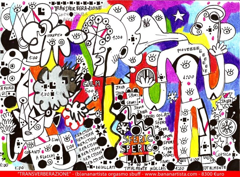 """""""TRANSVERBERATION"""" - (b)ananartista orgasmo SBUFF - mixed media on paper - http://www.bananartista.com"""
