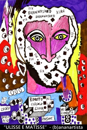"""ULISSE E MATISSE"" - (b)ananartista orgasmo SBUFF - mixed media on paper - http://www.bananartista.com"