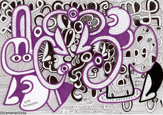 """UNA BELLEZZA ESILARANTE"" - (b)ananartista orgasmo SBUFF - mixed media on paper - http://www.bananartista.com"