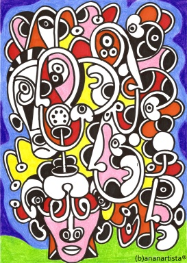 """UNA GIORNATA DI SOLE"" - (b)ananartista orgasmo SBUFF - mixed media on paper - http://www.bananartista.com"