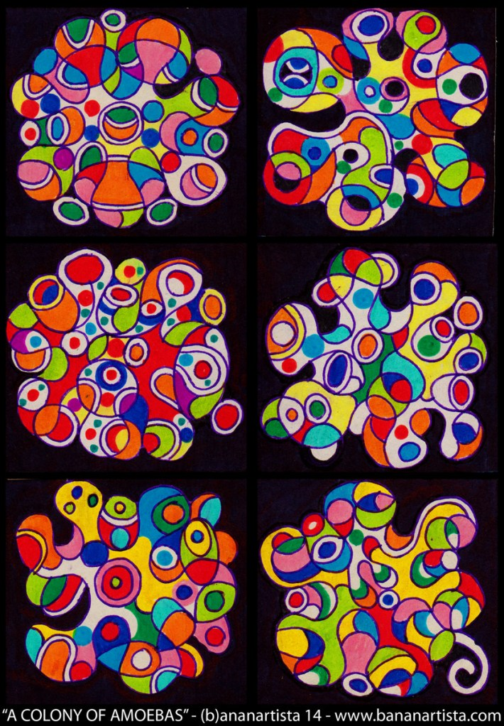 A COLONY OF AMOEBAS - a mixed media abstract geometric artwork by the visual artist (b)ananartista sbuff 2014 - www.bananartista.com