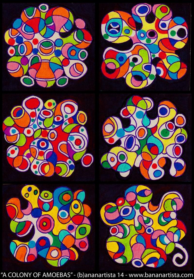 A COLONY OF AMOEBAS - a mixed media abstract geometric artwork by the visual artist (b)ananartista sbuff 2014 - www.bananartista.com