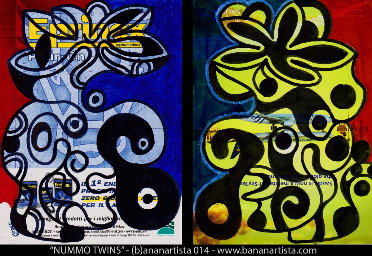 """""""dogon nommo twins the new mythological folkloric drawing by (b)ananartista sbuff, mixed media on magazine's paper from Mali. www.bananartista.com"""