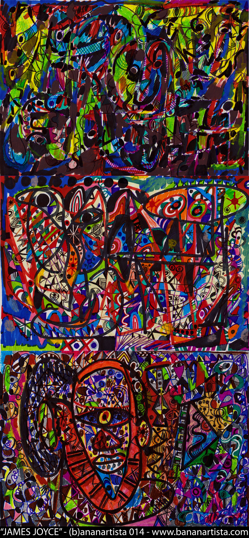 """James Joyce"" - abstract expressionism art drawing, a commemoration of Ulysses and Finnegans wake avant-garde stream of consciousness, www.bananartista.com art"""