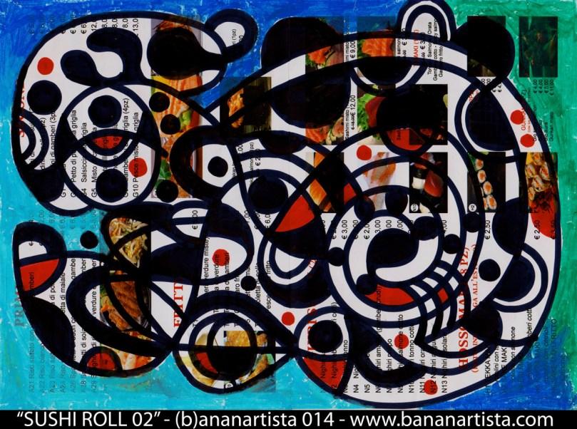kasei sushi roll 02; - disegno astratto di  (b)ananartista 2014 sul volantino del ristorante giapponese KASEI in viale fulvio testi 74 a Milano  - www.bananartista.com