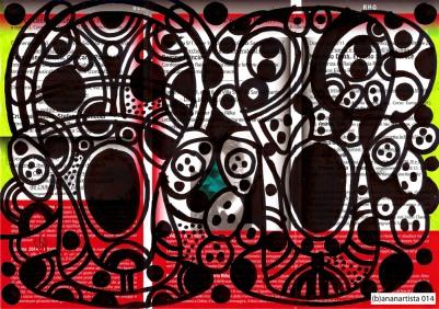 Sangue e detriti - dipinto di (b)ananartista su volantino de l'albero della poesia e della filosofia dedicato al capolavoro poetico di Rainer Maria Rilke, le Elegie Duinesi - www.bananartista.com