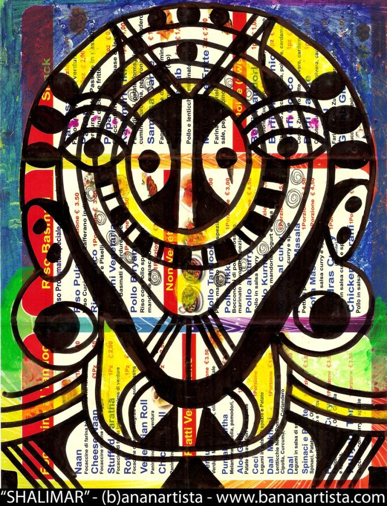 SWEET SHALIMAR - pittura di (b)ananartista 20014 sul menù del ristorante indiano take away Shalimar - www.bananartista.com