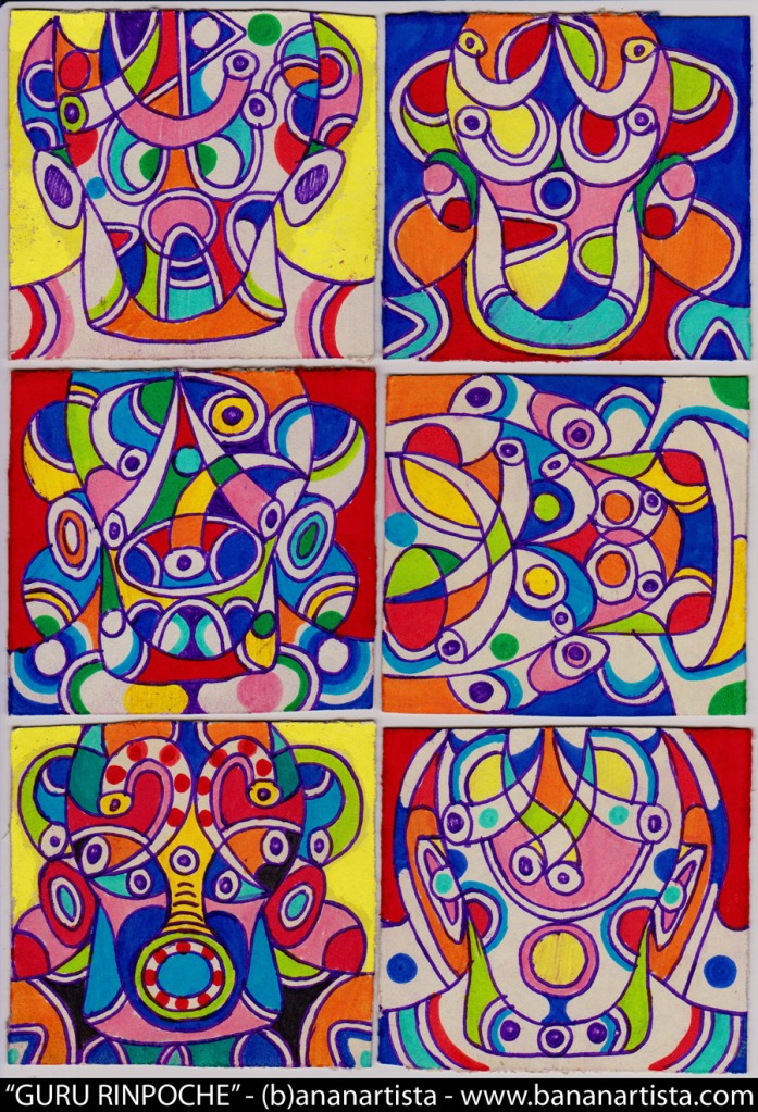 Eight manifestation of guru rinpoche (Padmasambhava buddha) an outsider art drawing by (b)ananartista orgasmo sbuff, www.bananartista.com