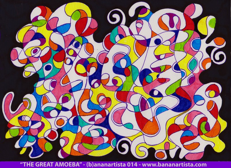 THE GREAT AMOEBA- mixed media on paper an abstract biomorphic painting by the outsider artist and composer (b)ananartista orgasmo sbuff 2014 - www.bananartista.com