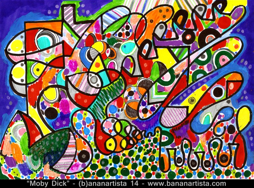 moby dick mixed media abstract art painting of (b)ananartista inspired by the novel