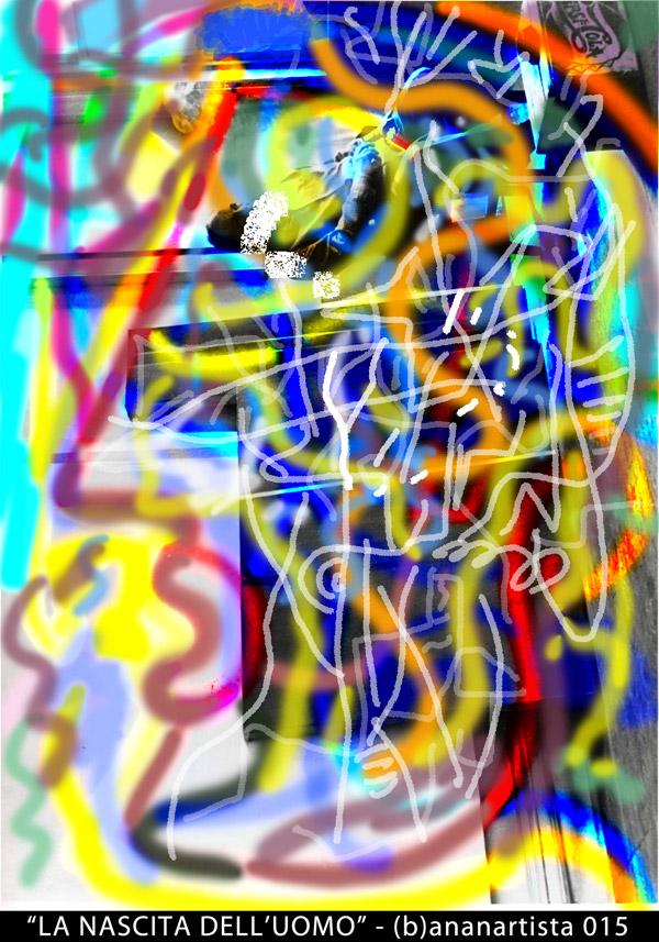 la nascita dell'uomo digital artwork di (b)ananartista ritratto