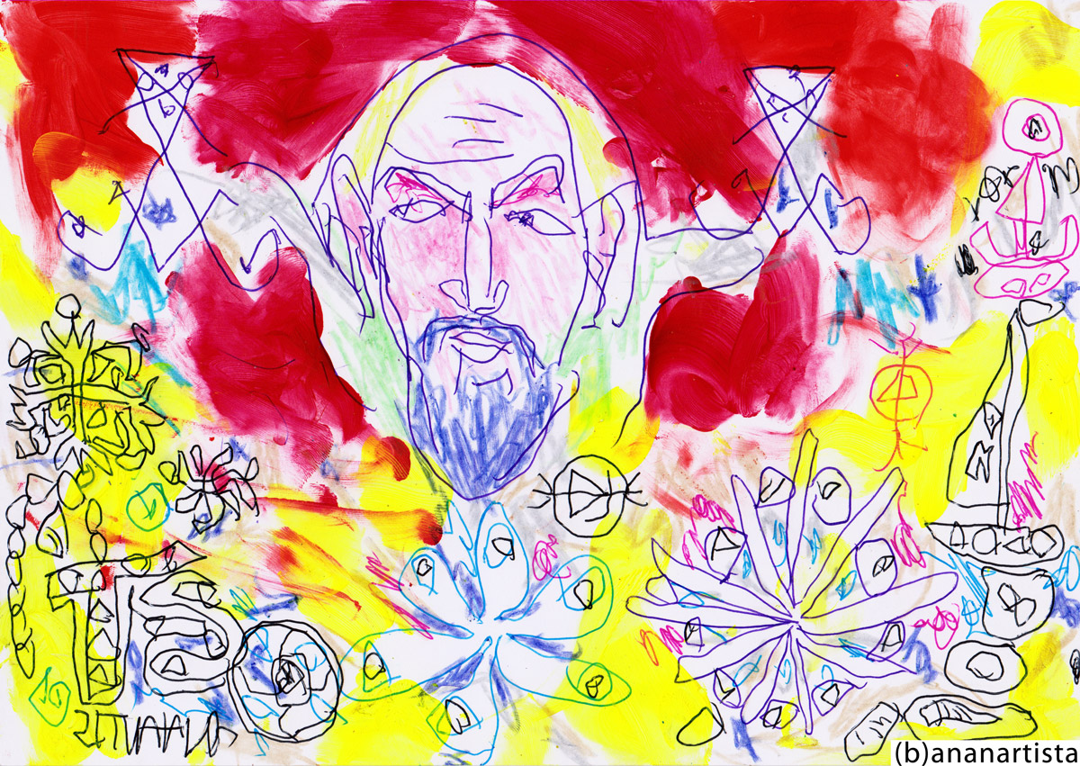 PORTRAIT OF ANTON LAVEY THE EVILEST MAN IN THE WORLD  drawing painting and outsider abstract contemporary artwork by (b)ananartista sbuff © 2015 all rights reserved