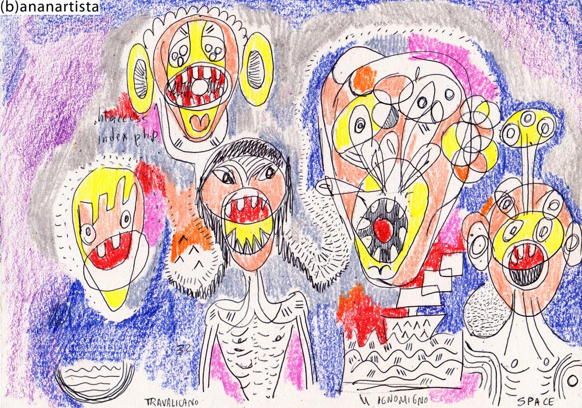 MALINCONICHE GEMME dipinto  tecnica mista su carta di (b)ananartista orgasmo sbuff © 2015 all rights reserved