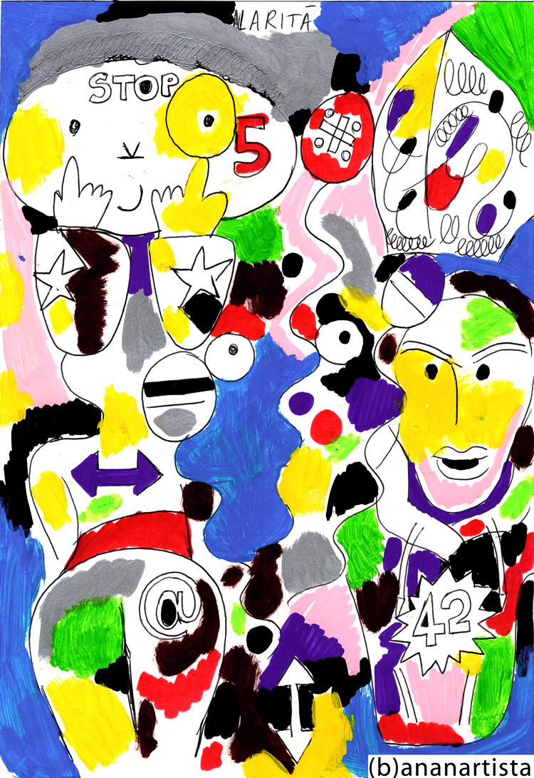 L'ILARITà DI UN NUDO SBARAZZINO drawing painting and outsider figurative contemporary erotic artwork by (b)ananartista sbuff © 2015 all rights reserved