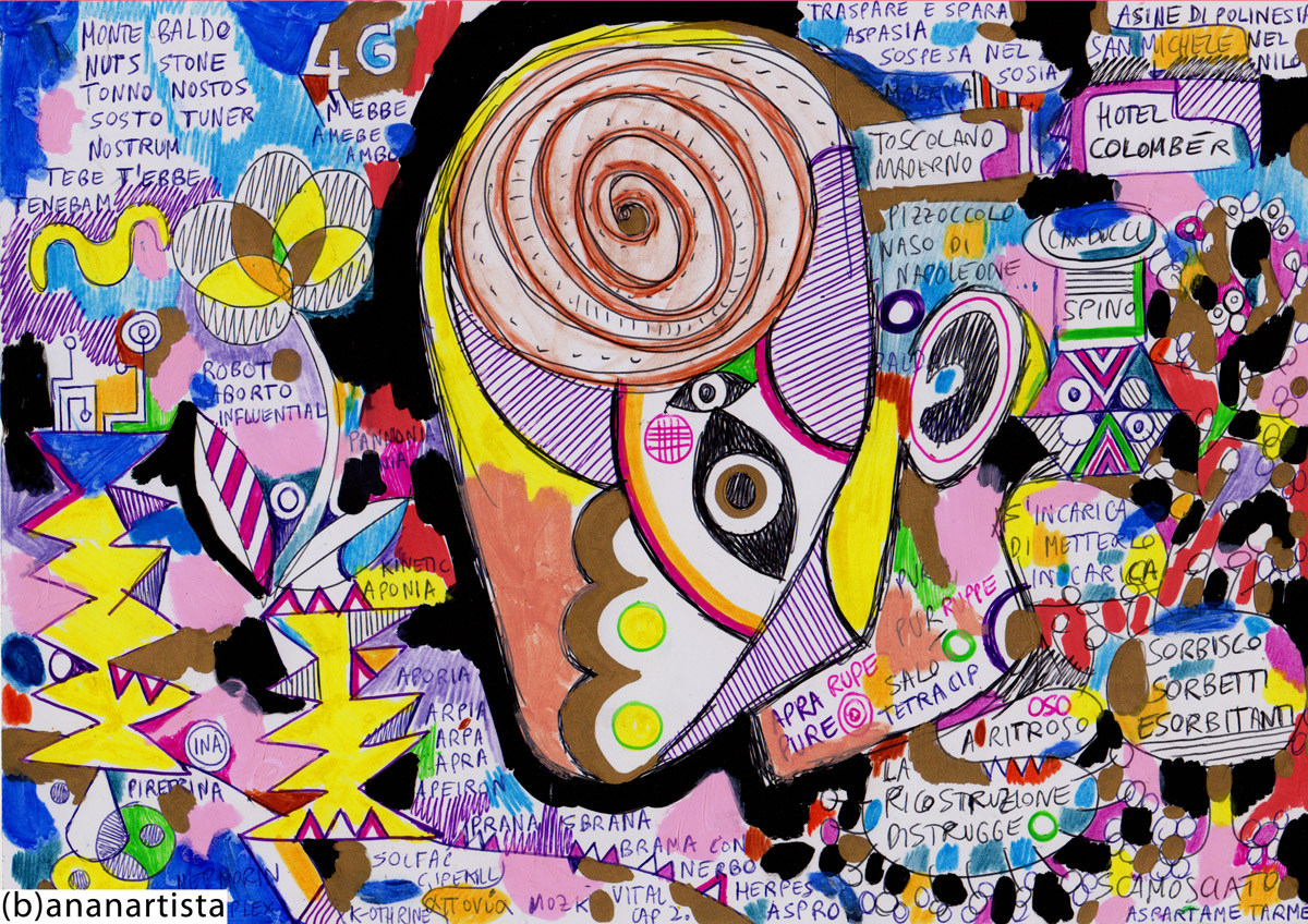 dipinto tecnica mista su carta di (b)ananartista orgasmo sbuff © 2015 all rights reserved