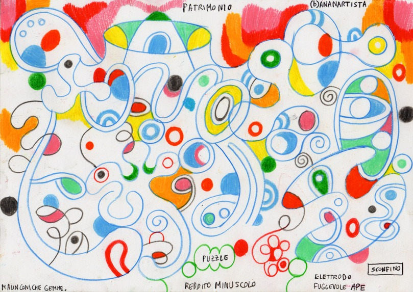 MALINCONICHE GEMME dipinto astratto tecnica mista su carta di (b)ananartista orgasmo sbuff © 2015 all rights reserved