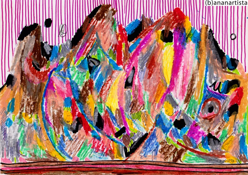 ALPINE LANDSCAPE drawing painting and outsider abstract contemporary artwork by (b)ananartista sbuff © 2015 all rights reserved