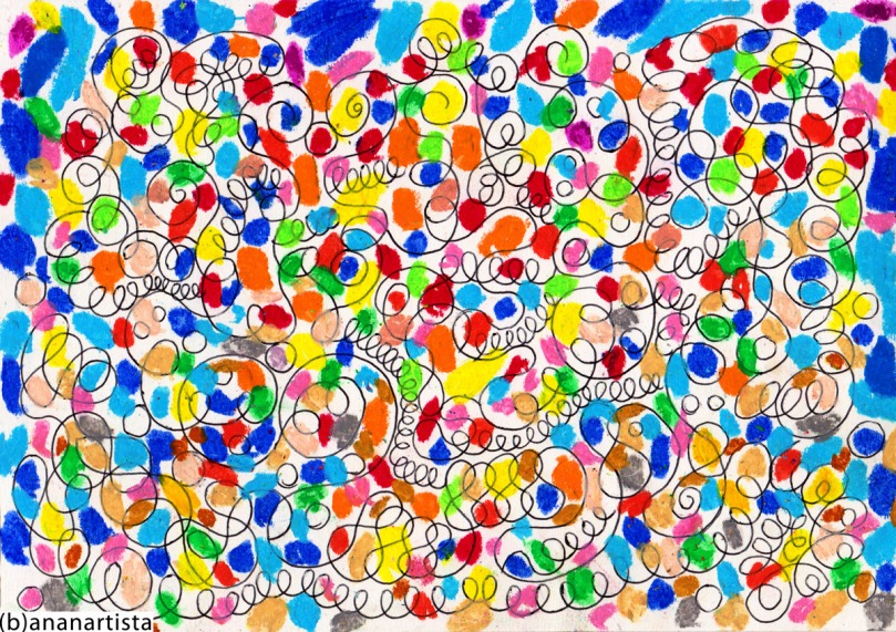 dipinto tecnica mista e pastelli su carta di (b)ananartista orgasmo sbuff © 2015 all rights reserved
