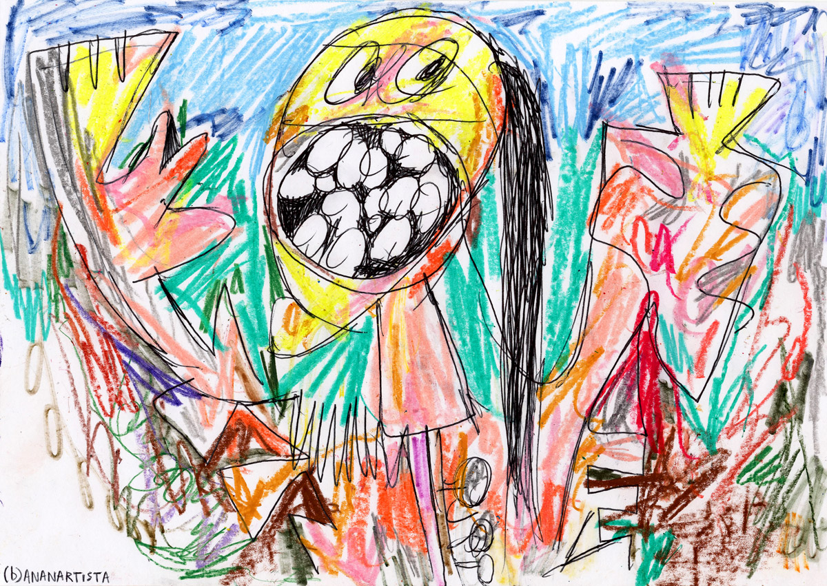 LA DANZA DELLA PIOGGIA dipinto sciamanico di (b)ananartista sbuff © 2015 all rights reserved